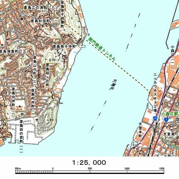 関門トンネルも地図誤り 50メートルずれ、公表せず修正 国土地理院 ...
