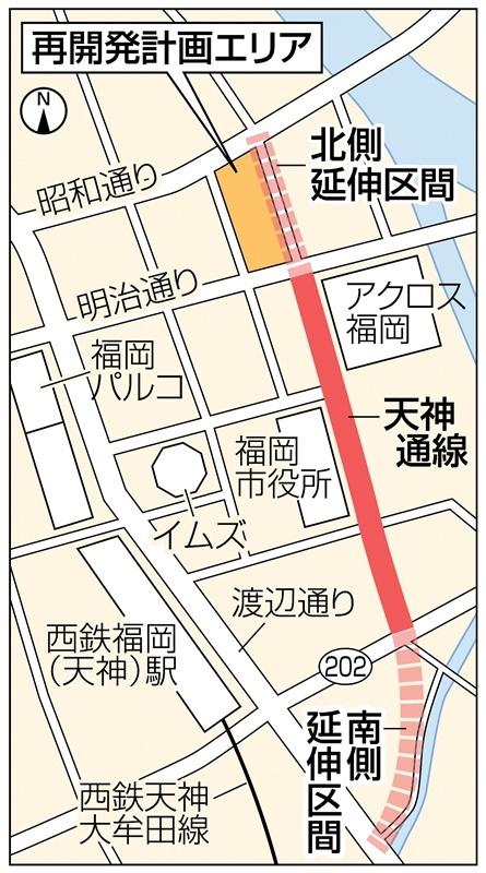 福岡市・天神の再開発エリアと「天神通線」