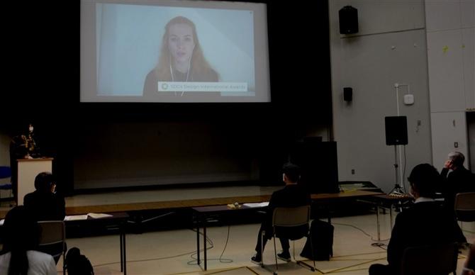 最終審査は会場に加え、ドイツや中国の学生もインターネットでつないで参加した