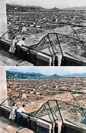 原爆投下1年後の広島市街(上、1946年8月5日撮影)をAIを使ってカラー ...